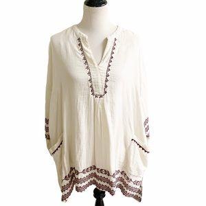 World Market Bohemian Embroidered Tunic One Size